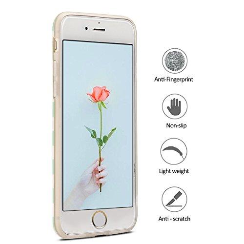 Coque iPhone 7 , Coque iPhone 8 , Etui Housse en Silicone Gel TPU de Protection Case Cover Souple Flexible Ultra Mince avec Cerf motif Mode Dessin pour Apple iPhone 7 / iPhone 8 (4.7 pouces) Enveloppe rayé Flamingo et Vert