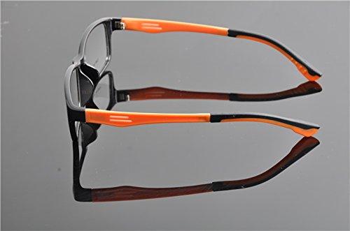 De Ding Transparent Objectif optique Vision Lunettes Cadre BlackOrange