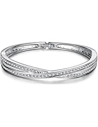 Silver Shoppee The Glitterati Platinum Plated Free Size Bracelet for Women
