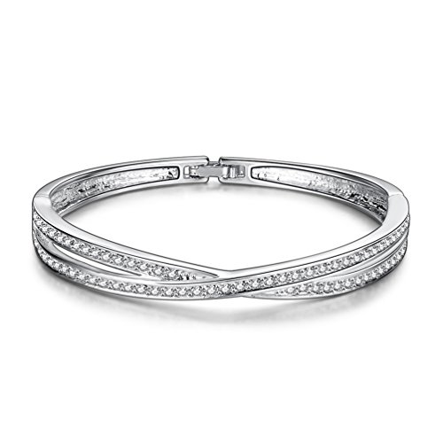 Silver Shoppee The glitterati Platinum Plated Free Size Bracelet for Girls and Women