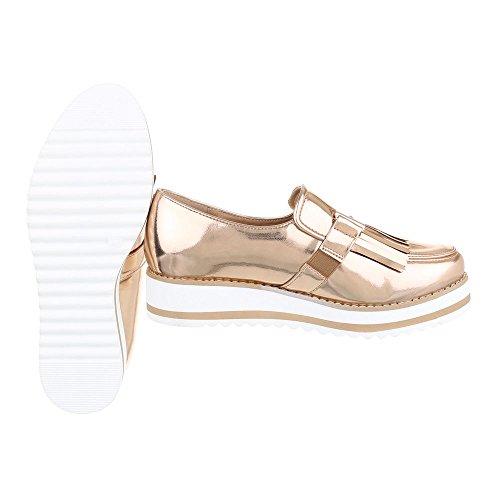 Ital-Design Slipper Damenschuhe Low-Top Moderne Halbschuhe Rosa Gold
