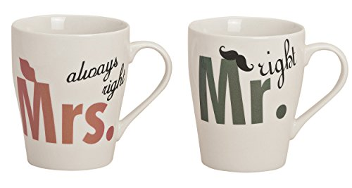 *Tassen SET, 300 ml, aus Porzellan, Partnertassen MR. RIGHT+MRS. ALWAYS RIGHT, weiß/bunt Mr.+Mrs.*
