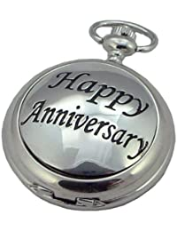 A E Williams 4981SK Happy Anniversary mens mechanical pocket watch with chain