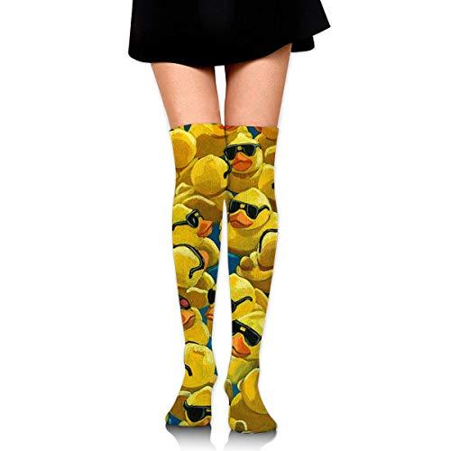Bgejkos Rubber Duck Painting Compression Socks Foot Long Stockings Knee High Socks Men Women Supports Sport Running Cycling Football Slim Leg Travel Medical Nursing - Gepolsterte Womens Athletische Socken