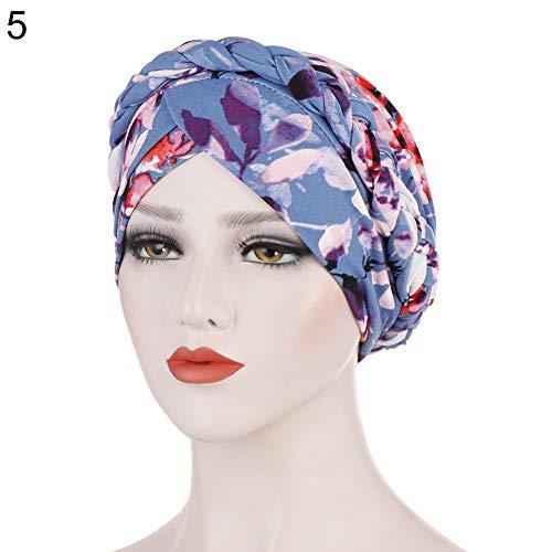 5lightrich Women Fashion Floral Printed Hat Muslim Turban Ruffle Chemo Beanie Turban Stretch Head Wrap Cap Lake Blue -