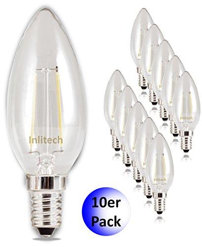Inlitech lampada LED a forma di candela, confezione da 10 , C35 E14 2 W equivalenti a 20 W, Bianco caldo ( K), 200 LM, LED Lampada a Candela, Angolo di fascio: 360 °, 0602561102591