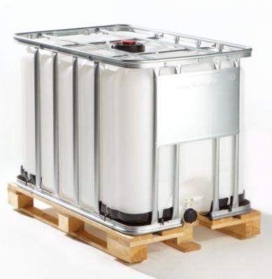 Preisvergleich Produktbild IBC Transport- und Lagertank auf Holzpalette - Inhalt 600 Liter - Standardausführung - Containerpalette Gefahrstoff-Container IBC Lagertank Systempalette Tank Transporttank