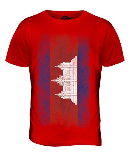 CandyMix Kambodscha Verblichen Flagge Herren T Shirt Rot