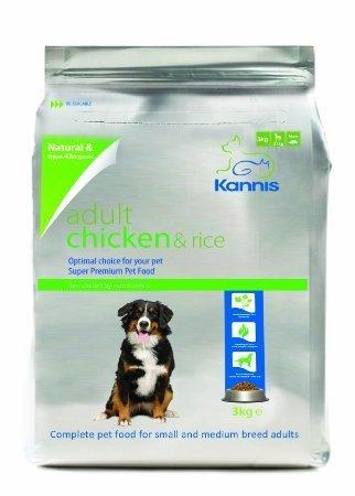 Kannis Pet Foods U.K. - Aliments secs pour chiens adultes Kannis Adult à base de poulet et de riz pour petites et moyennes races - Poids: 3 kg
