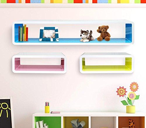 Set 3 mensole rettangolari colorate componibili di design effetto 3d misure diverse laccato lucido. media wave store