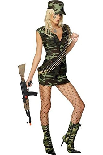 Kostüme Wear Club (Neue Damen-2 Stück grün Army Military Camouflage Kostüm Hen Night Party Club Wear Größe UK 8–10 EU)