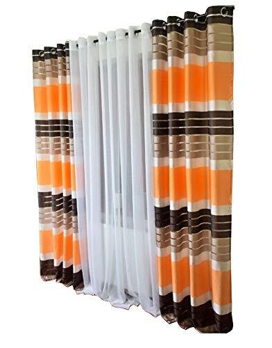FK-Lampem Blickdicht Ösenvorhang Ösenschal Schal Dekoschal für Fenster Dekorative Gardine viele Farben Streifen 2er Set Vorhänge mit Ösen 145x250 cm GP2 (P8) (Dekorative Fenster-schal)