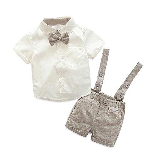 K-youth® Conjuntos Bebé Niño, Ropa Recién Nacidos Bebe Niño Camiseta Mangas Cortas Tops y Pantalones Cortos y Corbata de Moño Verano Ropa Conjunto 0-3 Años (Caqui, 0-6 Meses)