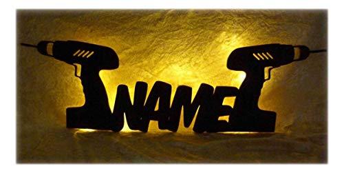 Schlummerlicht24 3d Led Tool Lampen Nachtlicht Akkuschrauber Werkzeug lustige witzige Männer-Geschenk mit Namen, für Handwerker Deko-Lampe Werkstatt Arbeits-Zimmer Büro Namens-Geschenk (Handwerker-akkuschrauber)