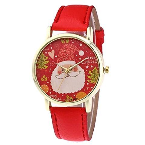 Fulltime Nouveau nouveau modèle de Noël de bracelet en cuir de la bande de montres de quartz analogiques (Rouge)