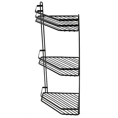 Tension Pole Caddy (3Etagen Eck Dusche Caddy Metallic Effekt rostbeständig Beschichtung, schwarz)