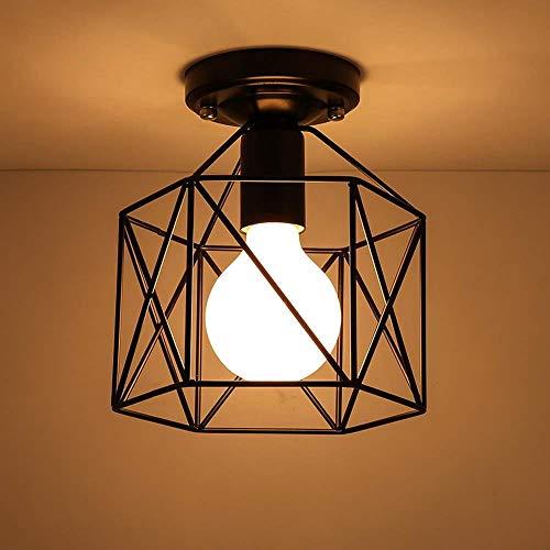 Industriestil Einfacher Gang Flur Deckenleuchte Eisen Balkon Lampe Flur Deckenleuchten Hohl Geometrie Form Lampenschirm Dekorativer Kronleuchter Einzelkopf -