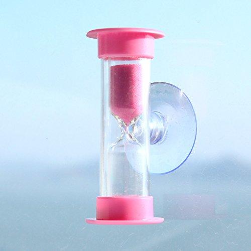 Wokee Mini Sanduhr mit Saugnapf 3 Minuten für Dusche Timer / Zähne Putzen Timer Ideal für Haushalt,Sport und Spiele,Transparent Kristall Sanduhr Timer Sand Uhr (Rosa) (Timer Dusche Sand)