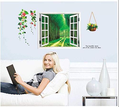 CHLCH Grüner Waldweg der Wandaufkleber der Stereoanlage 3D