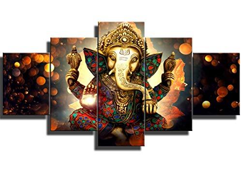 DJSYLIFE- Ganesha Hindu-Gott Leinwandkunst für Wohnzimmer, Moderne Heimdekoration, 5 Stück 12x16inchx2pcs,12x24inchx2pcs,12x32inchx1pcs Religion Series No1-l -