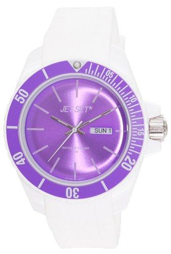 Jet Set–J83491-16Bubble–Unisex Watch–Analogue Quartz–White Dial Purple Rubber Bracelet