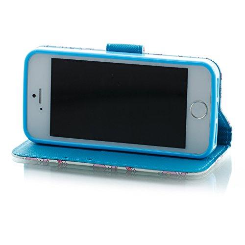 Cover iphone SE 5 5S ,Custodia iphone SE 5 5S, COZY HUT Elegante borsa sollievo Design in Pelle PU Case Cover Protettiva Flip Portafoglio Case Cover Protezione Caso per iphone SE 5 5S / con Supporto d Pony blu