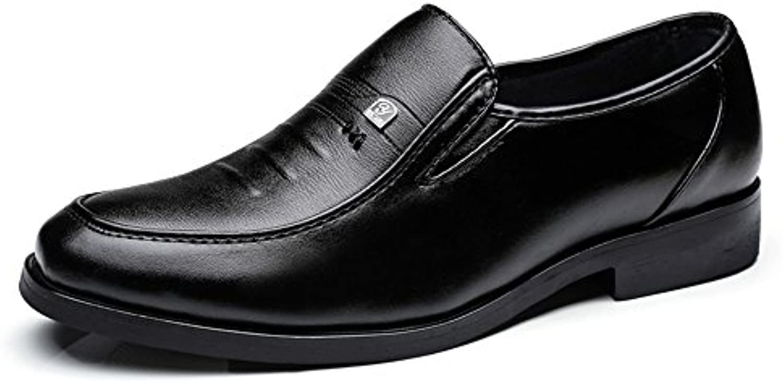 Lederschuhe Herren Business Oxford Casual Sstyle Low Heel Atmungsaktiv Wear   Resistent Schwarz mit Runden KopfLederschuhe Herren Business Oxford Atmungsaktiv