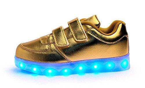 (Présents:petite serviette)JUNGLEST® Unisexe Enfant Filles Garçons a mené la Lumière Jusquà Formateurs de Sneakers Chaussures de Sport Chaussures Or
