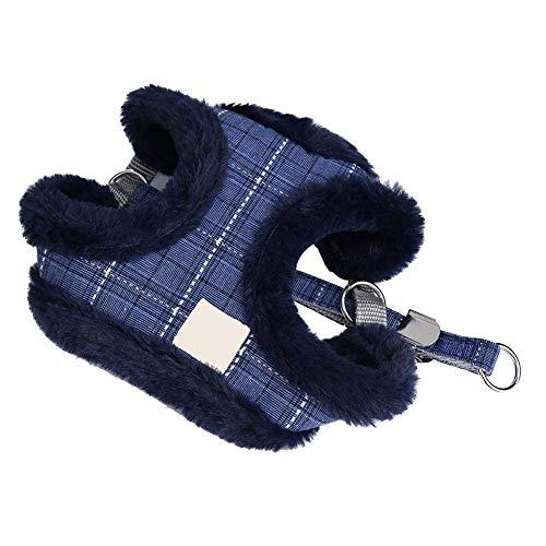 No-Pull Hundegeschirr Lease Führen Seil Weste Brustgurt Einstellbare Plüsch Cord Warme Winter für Training Gehen(S-Blau) -