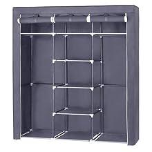 SONGMICS Canvas Wardrobe Bedroom Furniture Cupboard Clothes Storage Organiser Gray 175 x 150 x 45 cm RYG12G