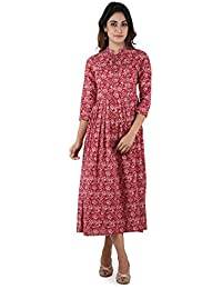 ANAYNA Women's Cotton Printed Long Pleated Dress In Red Color.