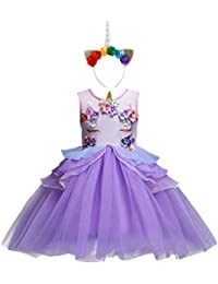 OBEEII Girls Unicorn Costume Cosplay Dress Party Outfit Fancy Dress Princess Tutu Skirt for Festival Performance