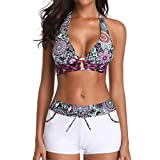 Frauen Siamesischer Bikini Anzüge Weibliche Feste Bikini Set Mode Push-Up StripeSwimwear Beachwear Badeanzug Swimming Moonuy