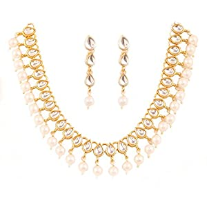 Touchstone New Indian Bollywood Charming Mughal Kundan Faux Pearls Hangings Classic Single Line Designer Jewelry Necklace Set in Gold Tone for Women.