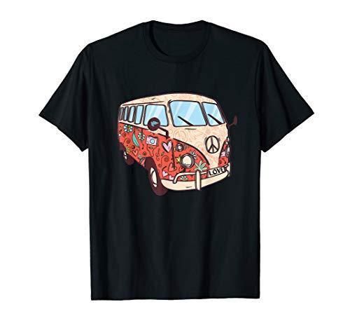 Kind Kostüm Hippie Liebe & Frieden - Flower Power Van, Retro 60er Jahre Hippie Bus Kostüm Outfit  T-Shirt
