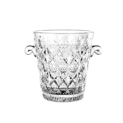 falan Glas Ice Bucket Weinkühler Crystal Ice Eimer mit 2Griffen Champagner/Wein Eimer Weinkühler Glas Marquis