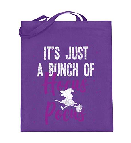 Shirtee Es ist nur Hocus Pocus - Hexe - Hexen Halloween Kostüm - Jutebeutel (mit langen Henkeln) -38cm-42cm-Violett