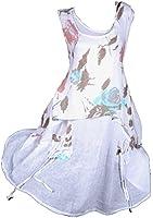 Sommer 2tlg Leinen Twinset Kombi Lagenlook Tunika Kleid Hängerchen Unterkleid Weiß 46 48 50 52 L XL XXL