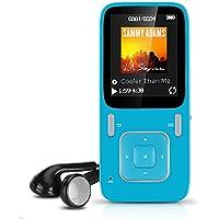 """AGPTek B03 Reproductor de MP3 8 GB pantalla de 1,8"""" con radio y grabadora de voz (Soporta hasta 64 GB tarjeta Micro SD), Azul"""