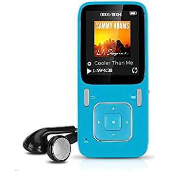 """AGPTek B03 lettore MP3 8 GB schermo 1,8"""" con radio FM (supporta fino a 64 GB Micro SD), Blu"""