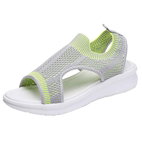 UOWEG Keile Sandalen für Damen Open Toe atmungsaktiv Komfort aushöhlen Casual Wedges Mesh Schuhe Sandalen Metallic-woven Leder
