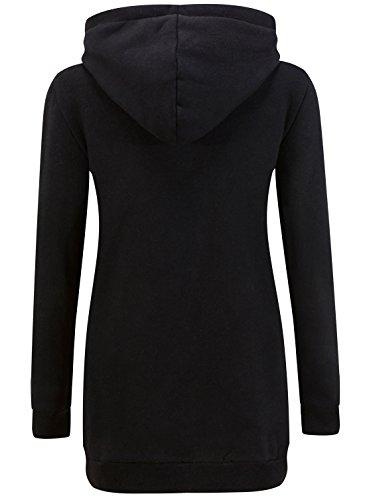 KorMei Damen Langarm Hoodie Kapuzenpullover Jacke Sweater 2 Farben Schwarz&Rot
