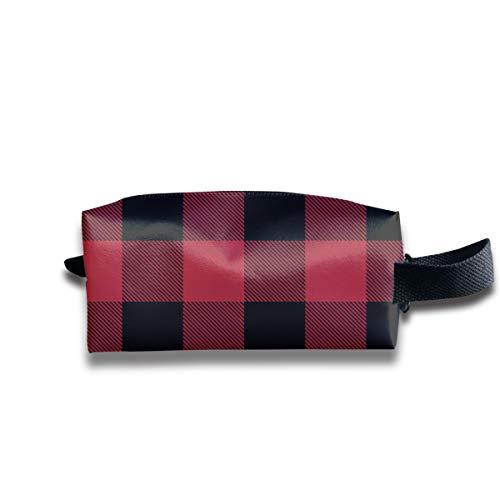 1 rot und schwarz Buffalo Check_26029 tragbare Reise Make-up Kosmetiktaschen Organizer Multifunktions-Tasche Taschen für Unisex -