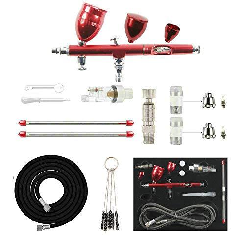 Abest - pistola a spruzzo professionale per aerografo, 0,2 mm / 0,3 mm / 0,5 mm, kit completo per uso generico, per progetti artistici e artigianali, modellismo, carrozzerie auto r/c, rosso