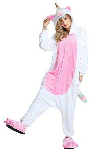 Missley Einhorn Pyjamas Kostüm Overall Tier Nachtwäsche Erwachsene Unisex Cosplay (XL, Gold (Gold Hörner Kostüm)