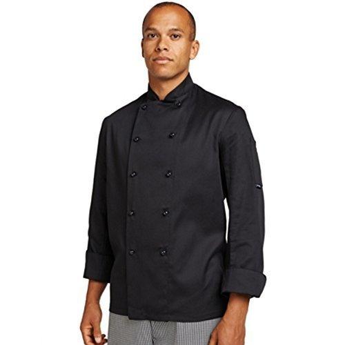 Dennys Küchenchef Jacke Schwarz Lange Ärmel mit Abnehmbaren Schwarzen Nieten Alle Größen XXS-3XL Standardversand - Schwarz, XS 81 - 86 Brust (Küchenchef Mantel)