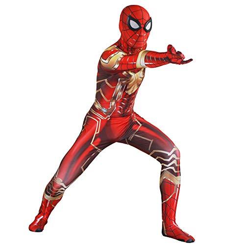 GIFT ZHIZHUXIA Spiderman Rollenspiel elastischer Bodysuit Jumpsuits Cosplay Halloween Kostüm Kostüm Kostüm Body Offizieller SpiderMan (Farbe : Gold, größe : M) (Rot Und Gold Spider Man Kostüm)
