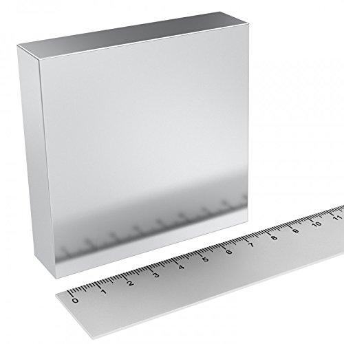 Neodym Quadermagnet 80 x 80 x 20 mm, Grade N52, vernickelt, sehr starker Industriemagnet