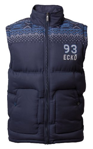 Mens Ecko ALDGATE gilet jacket Full Zip Scaldacorpo Trapuntato Padded Aztec Marine XL