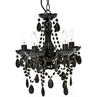 Present Time–Lámpara de techo chandelier Gypsy, 5brazos, plástico, negro, E14 25 wattsW
